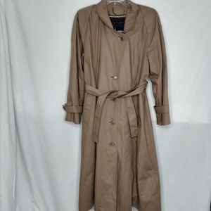 London Fog Size 14 Belted Button Tan Trench Coat